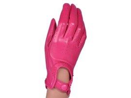 Rękawiczki damskie samochodowe -  PUCCINI D-1511 różowe całuski kropeczki