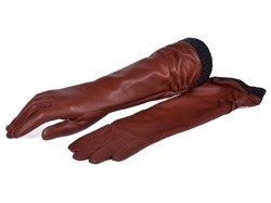 Rękawiczki damskie PUCCINI D-1540 ciemno brązowe długie